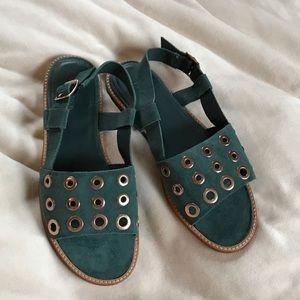 J. Crew Green Suede Sandals